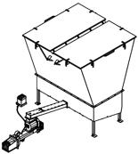 06652850 Automatyczny podajnik do spalania biomasy 10m3 400V 60kW, głowica: żeliwna (paliwo: trociny, wióry, zrębki, kora, brykiet, agrobrykiet, pellet, pestki owoców)
