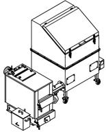 06652952 Automatyczny zestaw do spalania biomasy 1m3 230V 30kW, głowica: żeliwna, bez systemu usuwania popiołu (paliwo: trociny, wióry, zrębki, kora, brykiet, agrobrykiet, pellet, pestki owoców)