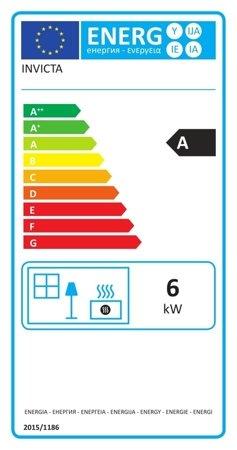 BINIKTA Piec wolnostojący Invicta 6kW Norik (górna, tył wylot spalin: 150mm, kolor: antracyt) - spełnia anty-smogowy EkoProjekt 86854931