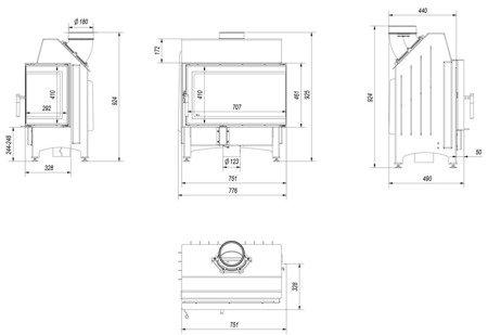 KONS Wkład kominkowy 11kW Zibi 12 Deco (prawa boczna szyba) - spełnia anty-smogowy EkoProjekt 30065521