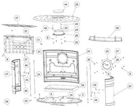 Piec wolnostojący Invicta 12kW Angor (górna lub tylna średnica wylotu spalin: 150mm) - spełnia anty-smogowy EkoProjekt 86854952