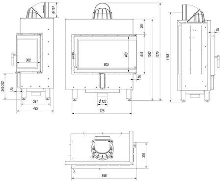 Wkład kominkowy 14kW Lucy BS (prawa boczna szyba bez szprosa) - spełnia anty-smogowy EkoProjekt 30063876